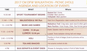 Holi Picnic 2017 Agenda